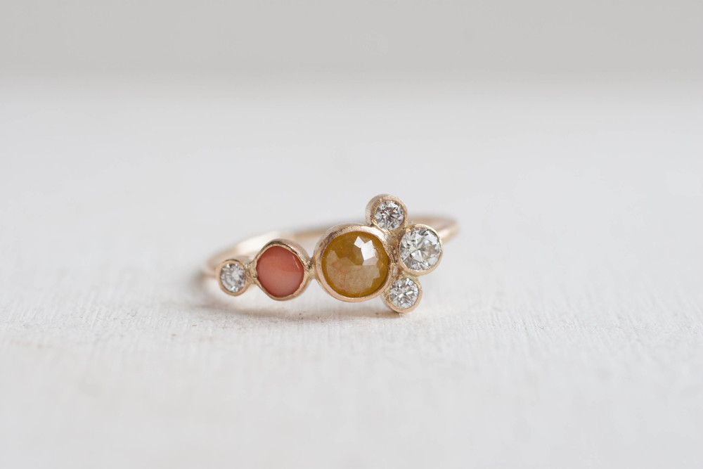 yellow diamond, coral, and diamond cluster ring-8.jpg