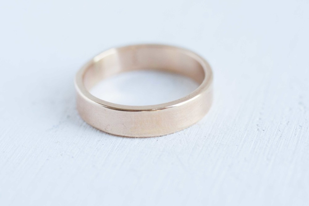 5 x 15 mm Flat Band Mens Wedding Ring 14k Recycled Gold