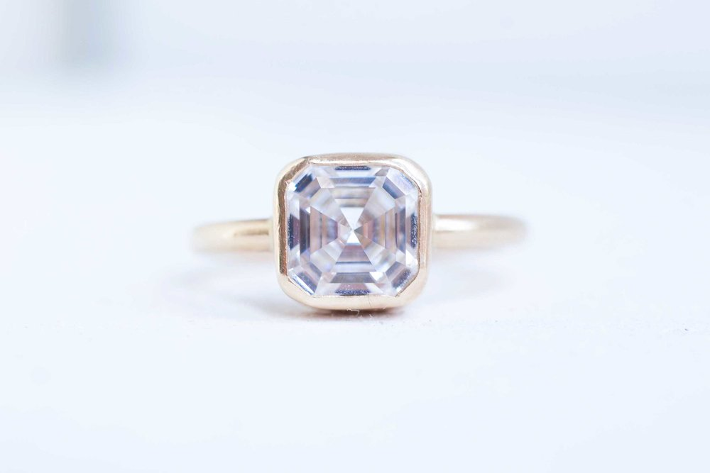 bezel ascher rings gold white set solitaire engagement in diamond cut asscher ring