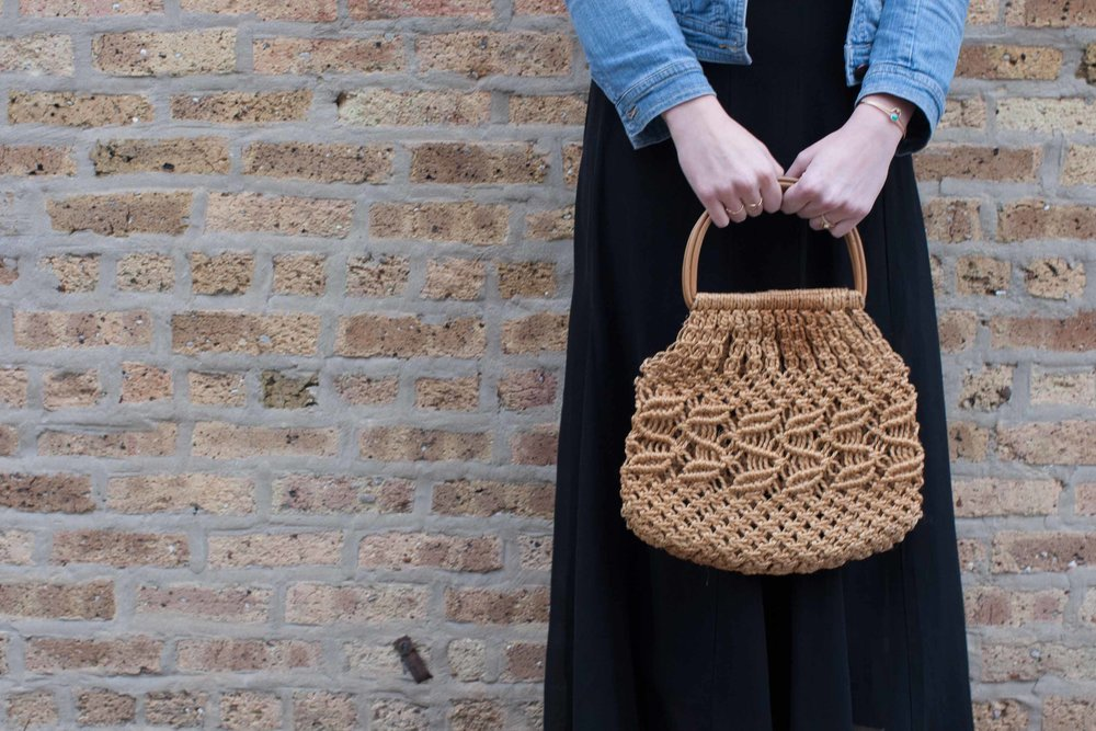 Vintage Macrame Bag Wooden Handle 1970s Purse One Of A Kind