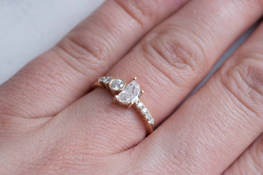 of half moon cluster rings recycled kind a gold engagement ring line one diamond