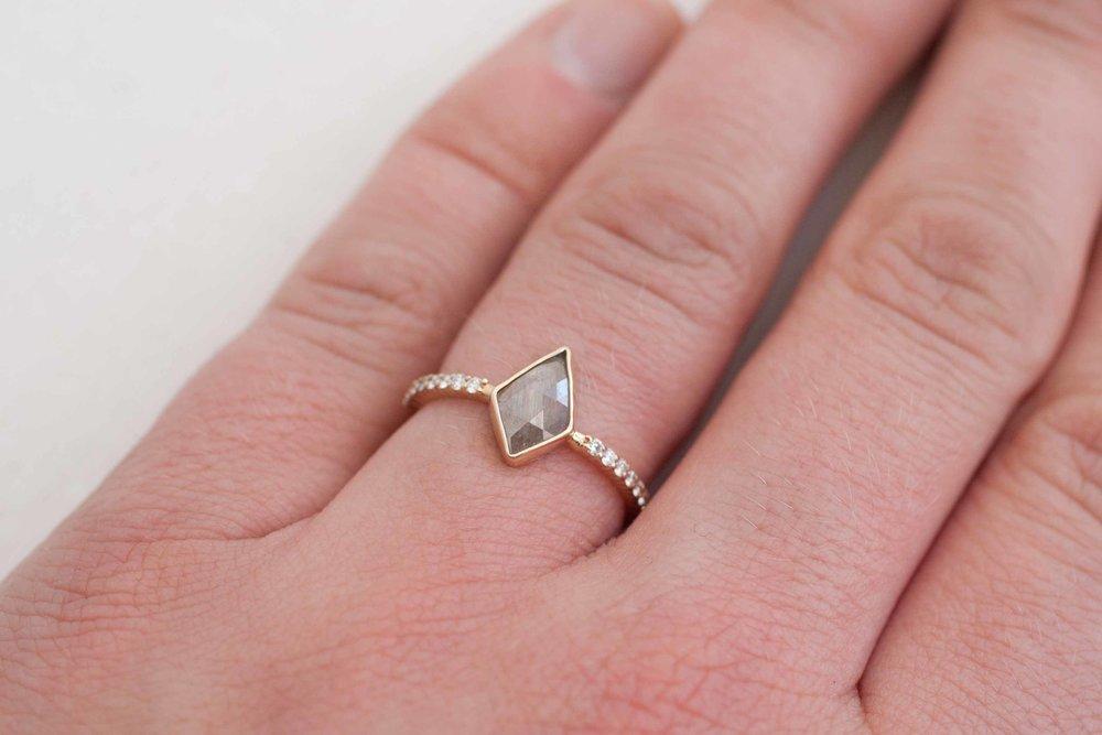 Silver Kite Rose Cut Diamond Pavé Engagement Ring