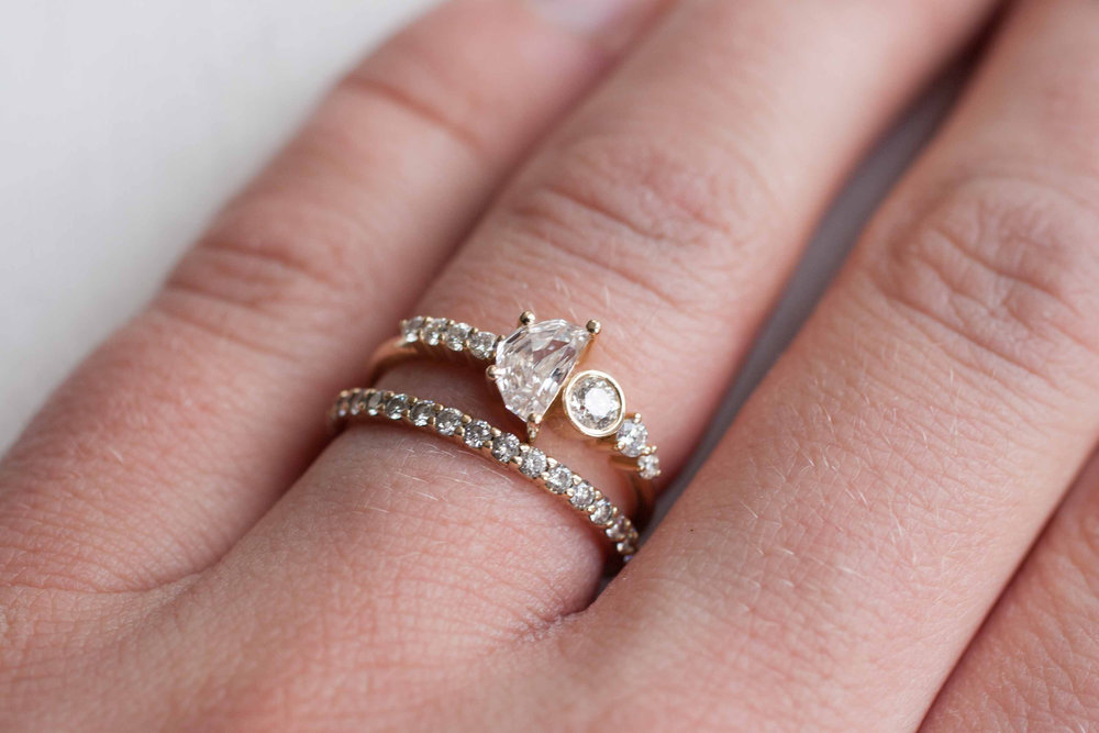 Famous Half Moon Diamond Cluster Engagement Ring | 14k Recycled Gold  VN18