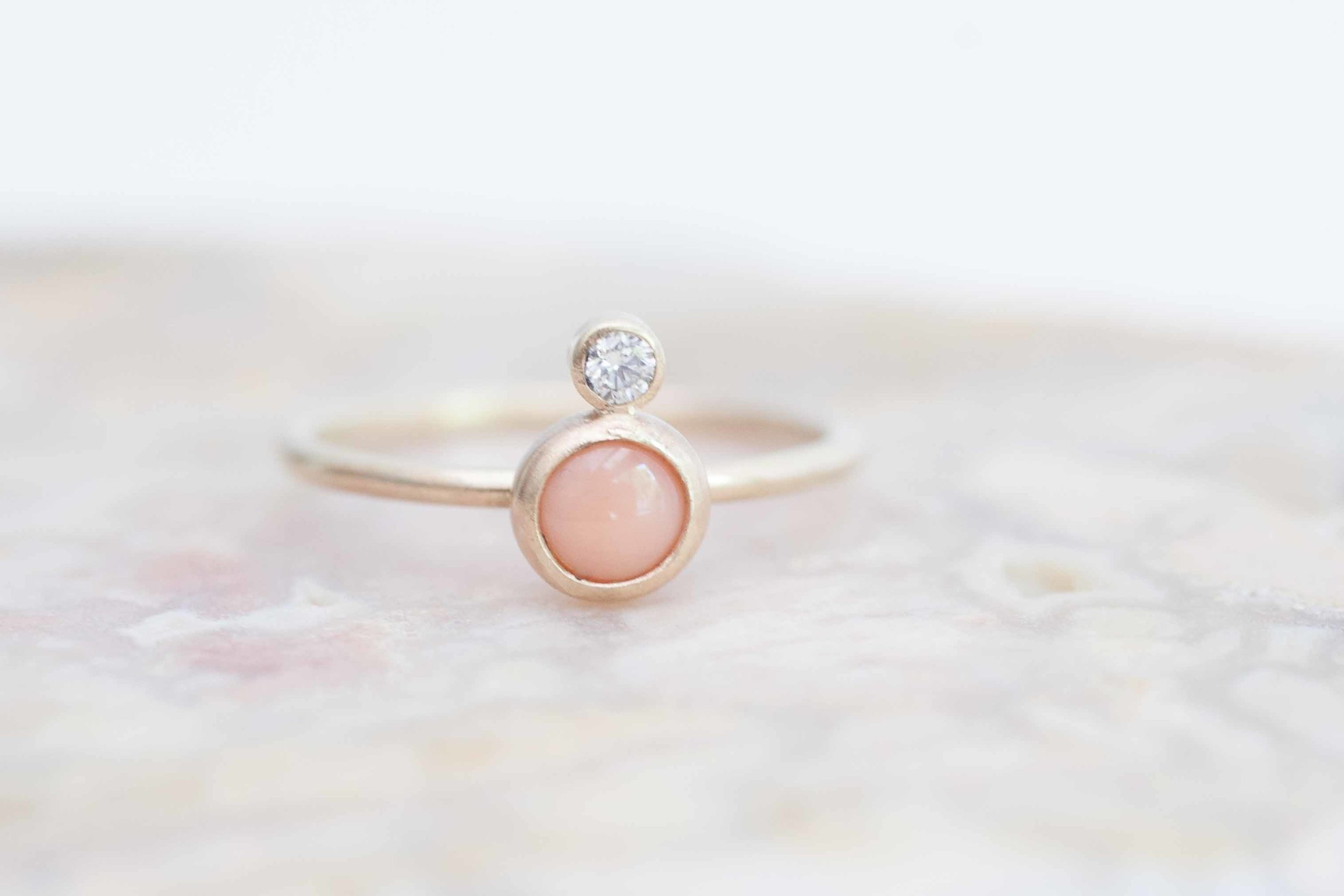 Coral Diamond Ring 14k Recycled Gold Mineralogy