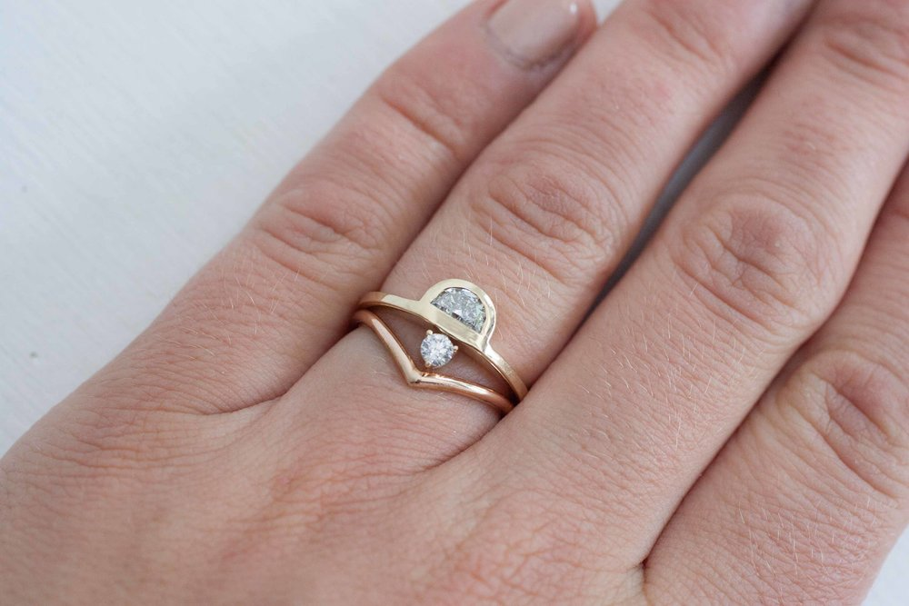 engagement diamond round recycled set half rings ring gold prong moon