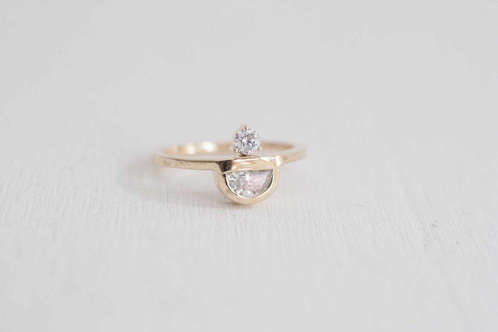 Top Half Moon Diamond + Round Diamond Engagement Ring | 14k Recycled  LD71