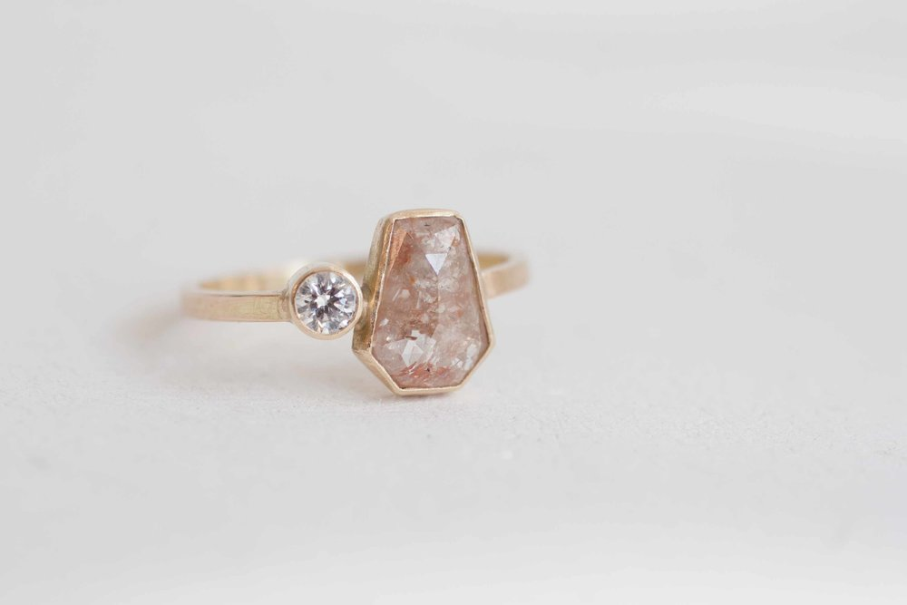 Rose Cut Enement Ring | Elongated Geometric Peach Rustic Rose Cut Diamond Diamond Accent