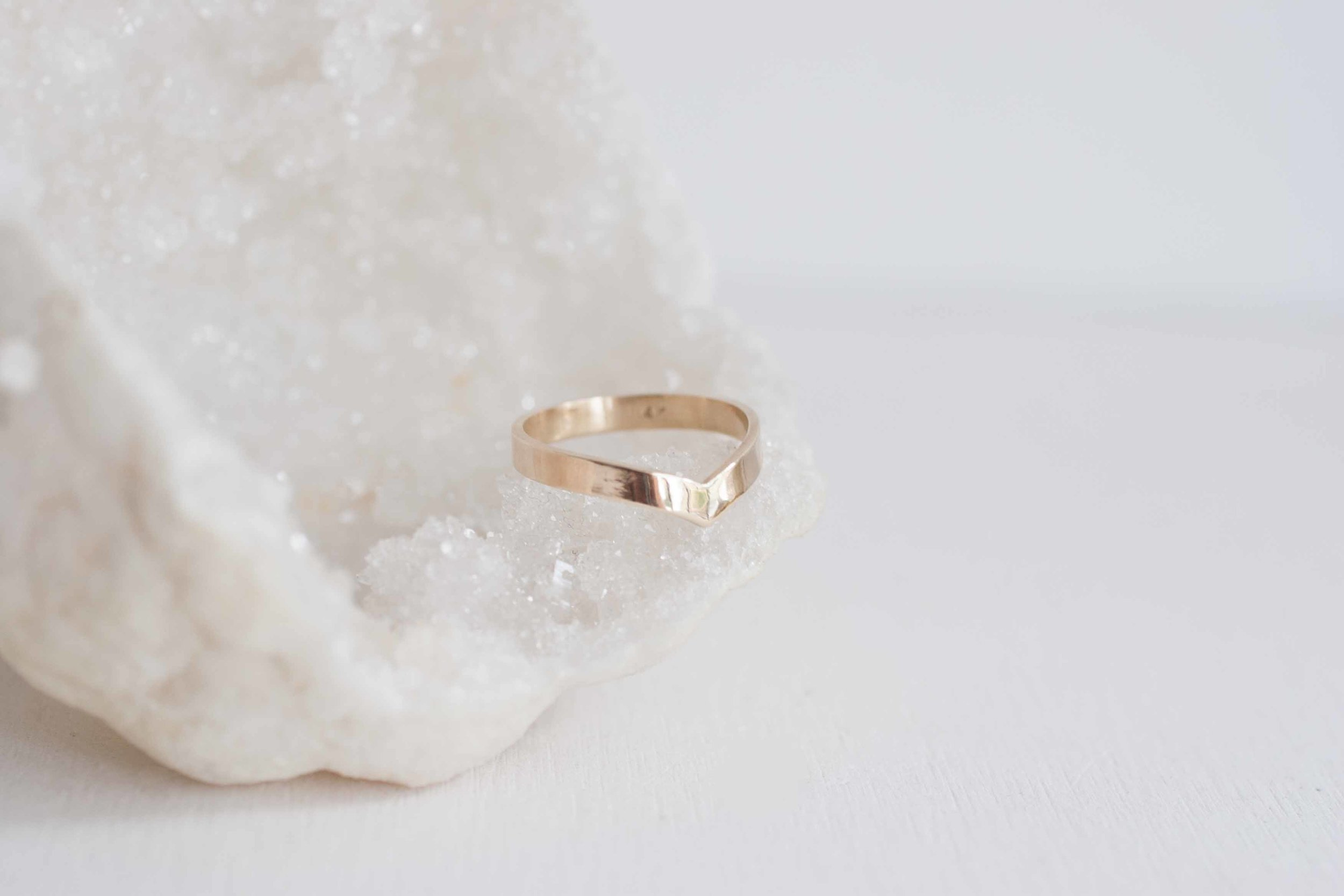 3 x 1 Contour Flat Ring V Wedding Band 14k Recycled Gold