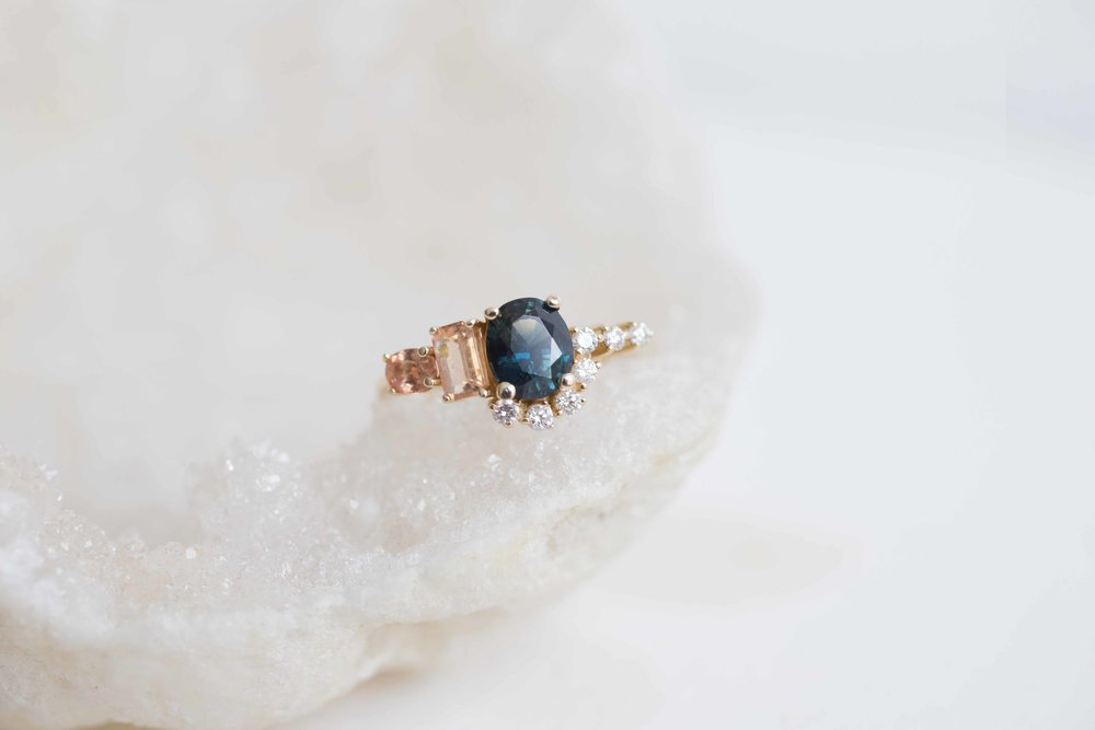 eidelprecious rings engagement weddinginspiration gold sapphire blue ring rose wedding by pin green