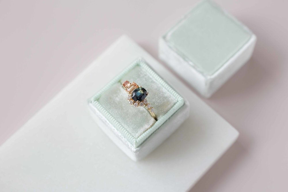 Blue Green Sapphire, Imperial Topaz, Peach Sapphire + Diamond Cluster Ring-16.jpg