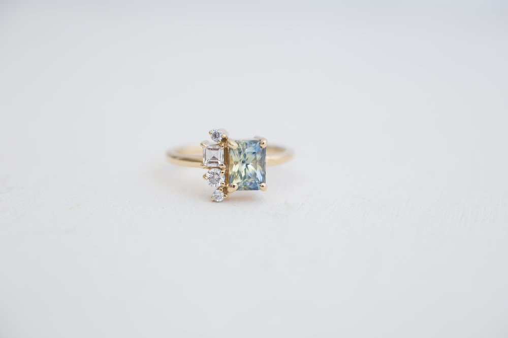 Completely new Bi–color Blue Yellow Sapphire + Diamond Cluster Engagement Ring  GT29