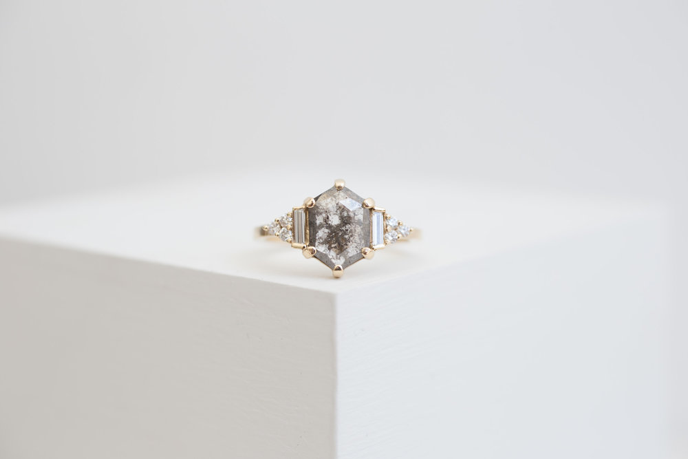 Ben Simkins Custom Grey Shield Cut Diamond Cluster Ring-1.jpg