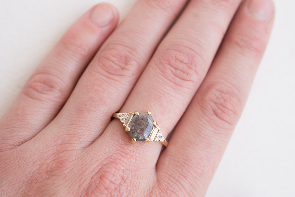 Ben Simkins Custom Grey Shield Cut Diamond Cluster Ring-10.jpg