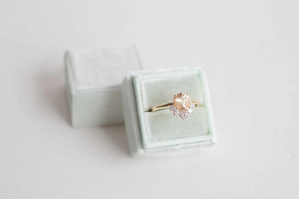 Daniel Cooper Custom Oval Apricot Sapphire + Diamond Cluster Engagament Ring-1.jpg