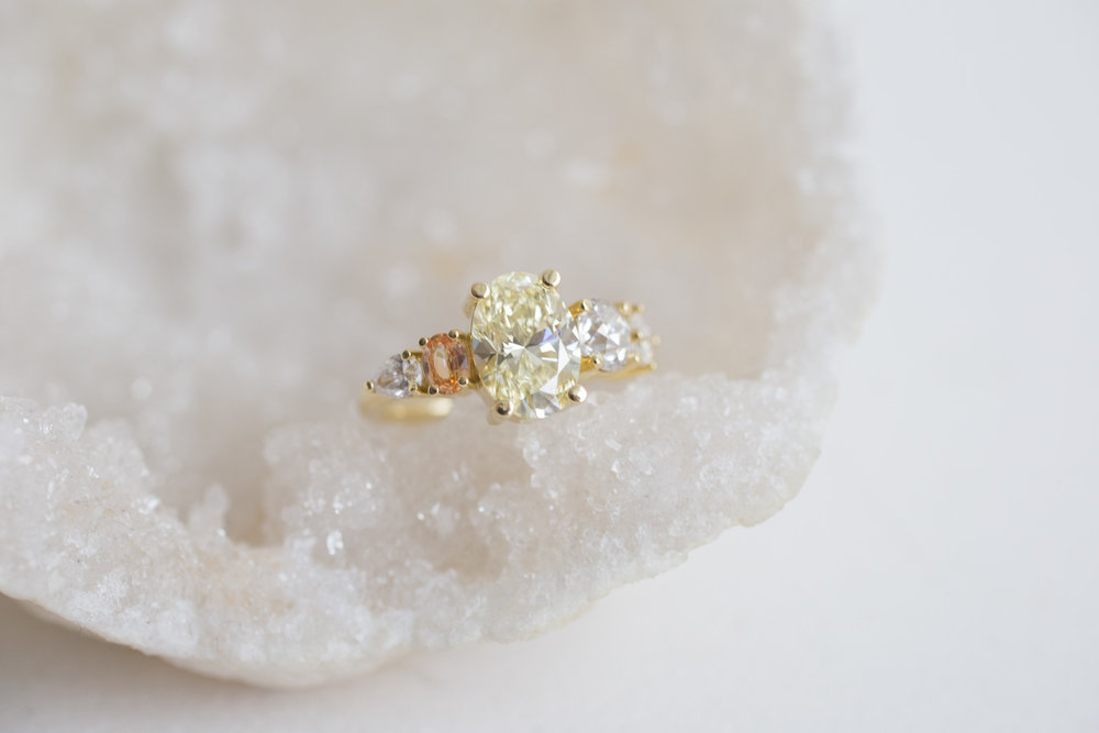 Roger + Julie Yellow Oval Diamond, Peach Sapphire + Diamond Accent Custom Engagement Ring-5.jpg