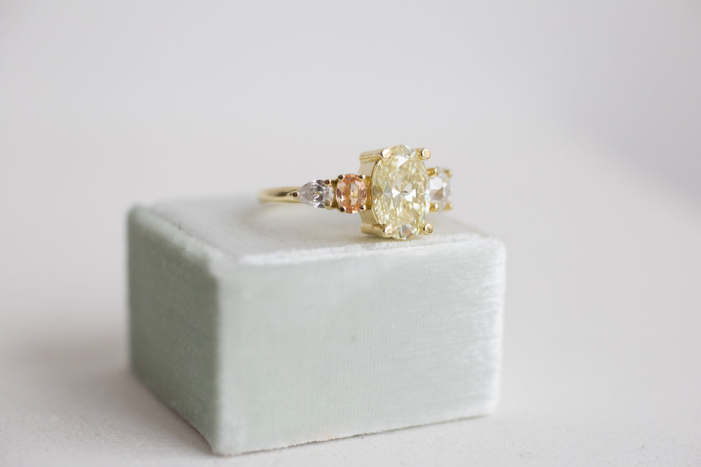 Roger + Julie Yellow Oval Diamond, Peach Sapphire + Diamond Accent Custom Engagement Ring-8.jpg