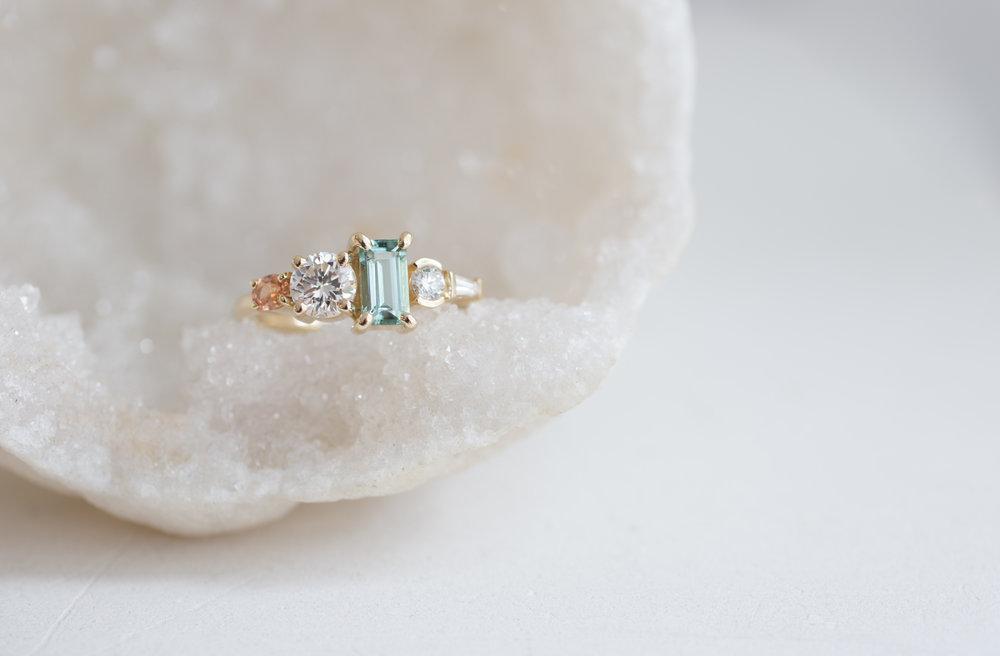 Laura Morris Tourmaline, Diamond, + Sapphire Engagament Ring-10.jpg