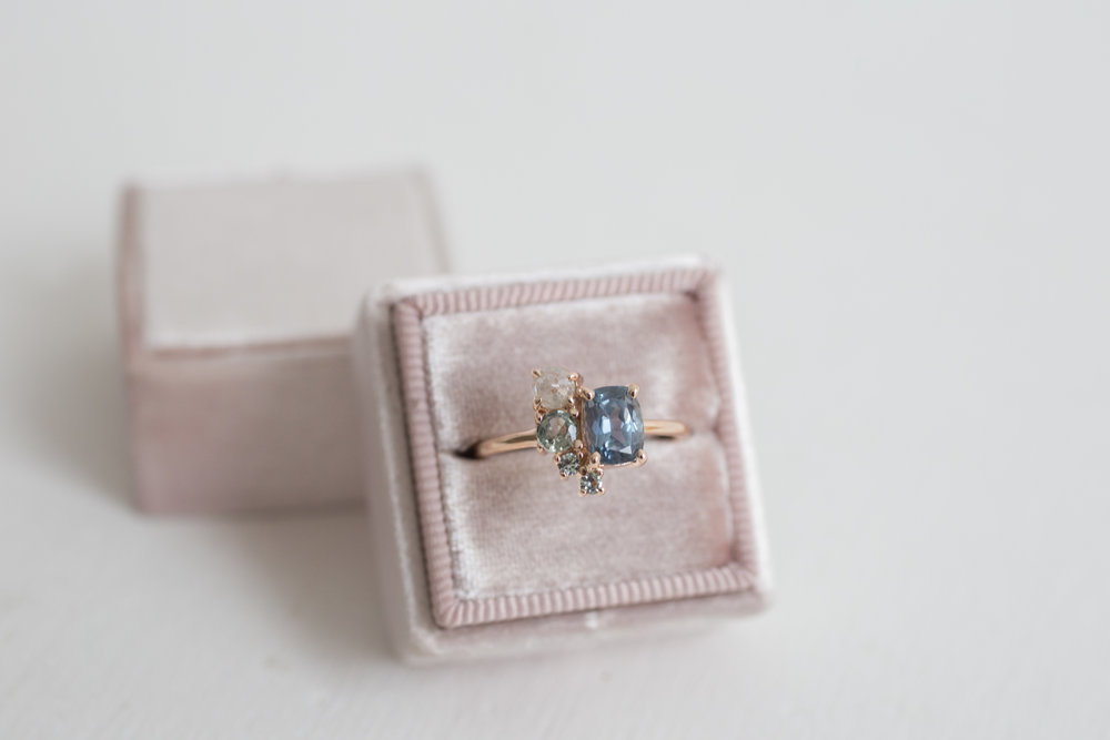 Sarah + Jonathan Sapphire Rustic Diamond Cluster Engagement Ring-6.jpg