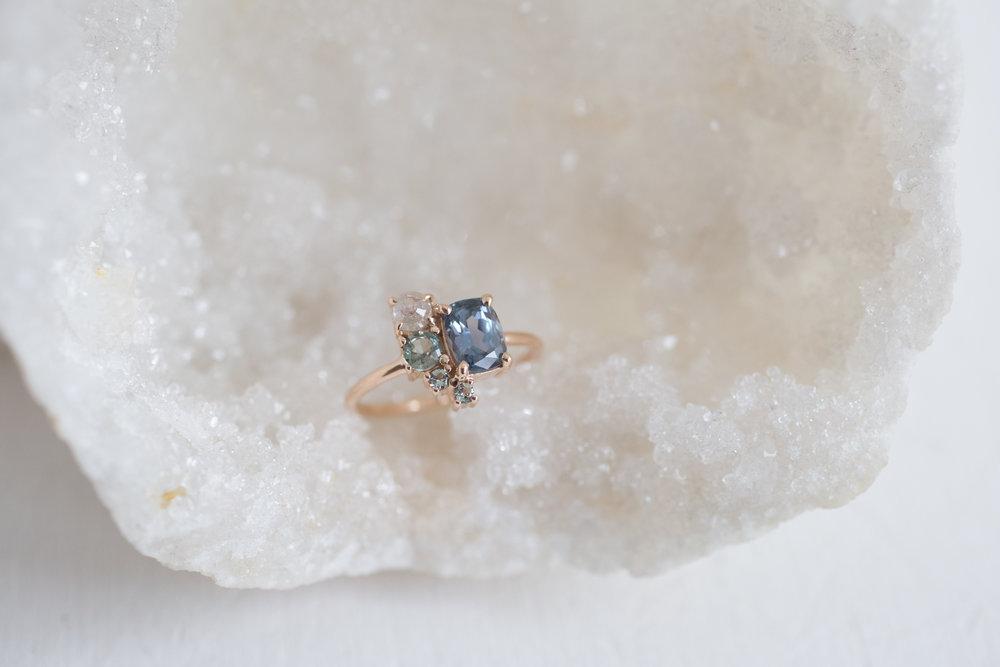 Sarah + Jonathan Sapphire Rustic Diamond Cluster Engagement Ring-8.jpg