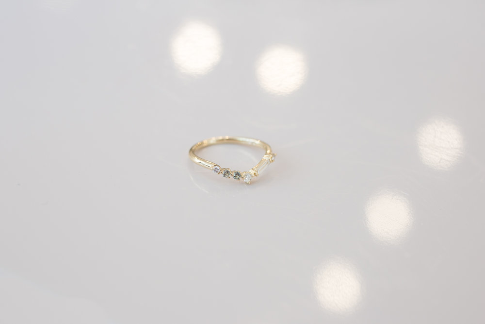 Michael + Rae Baguette Diamond, Round Diamonds +  Mint Sapphires Contour Wedding Band-7.jpg