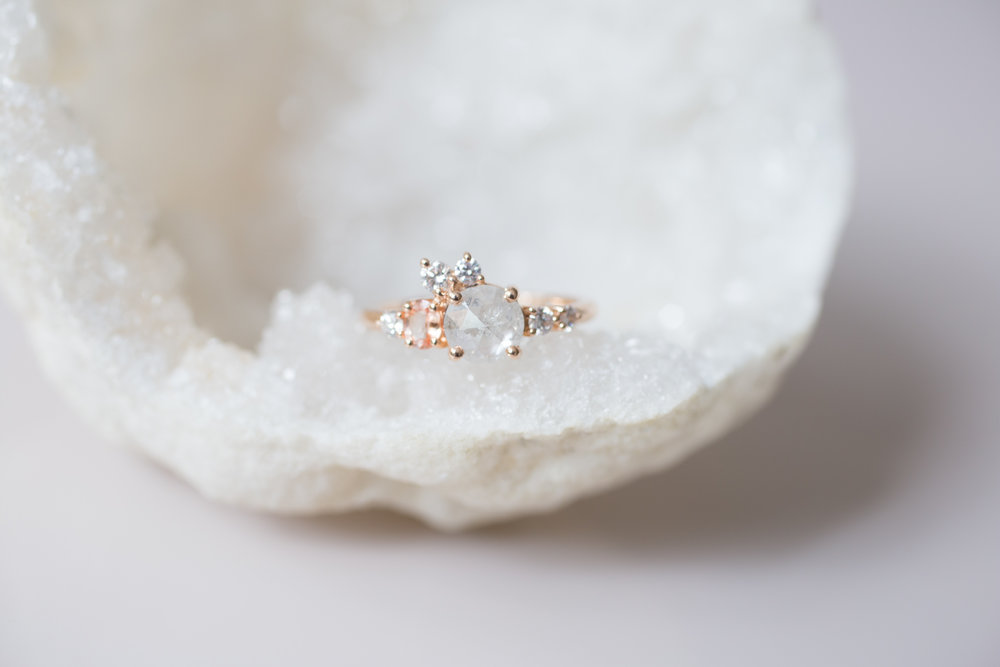 Cassie + Joe Rustic Diamond, Peach Sapphire, White Diamond Engagement Cluster-1.jpg