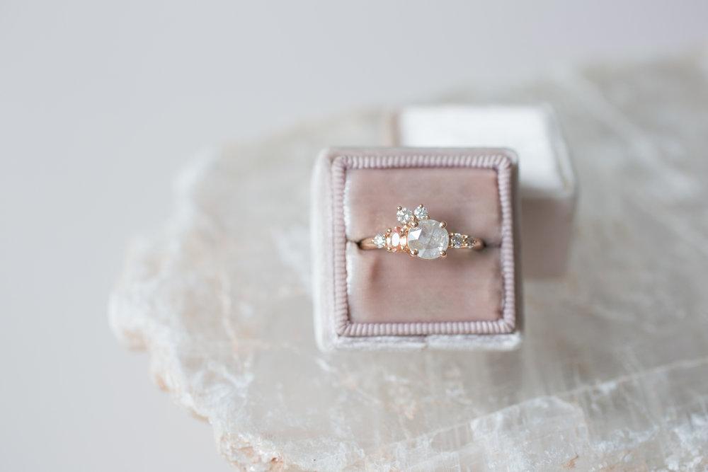 Cassie + Joe Rustic Diamond, Peach Sapphire, White Diamond Engagement Cluster-10.jpg