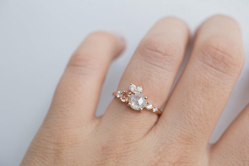 Cassie + Joe Rustic Diamond, Peach Sapphire, White Diamond Engagement Cluster-13.jpg