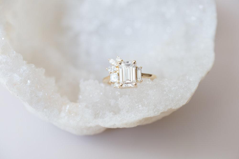 Angi + Matt Emerald Diamond Marquise Side Cluster Ring-1.jpg
