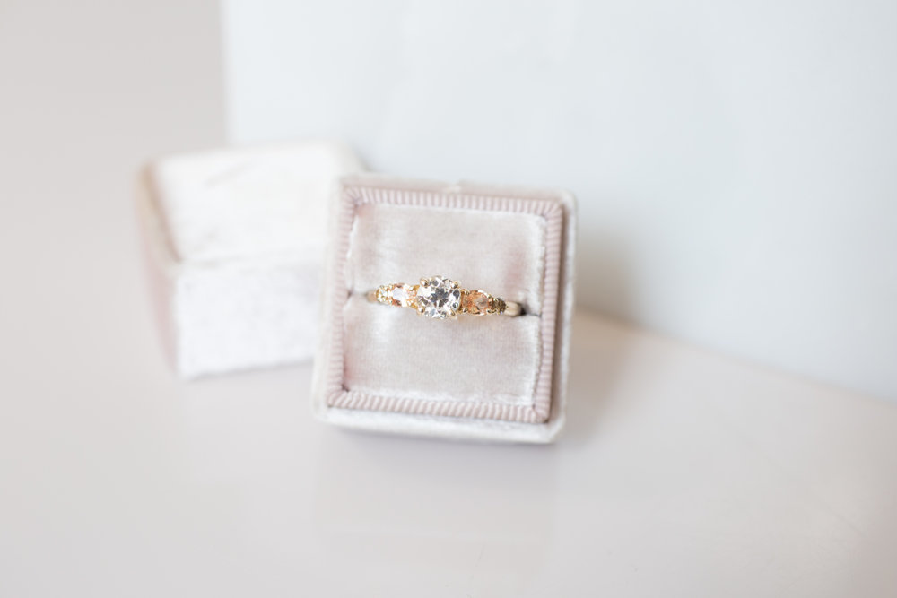Glenn + Eliot EOC Diamond, Peach Sapphire, Champagne Diamond Cluster Ring-8.jpg