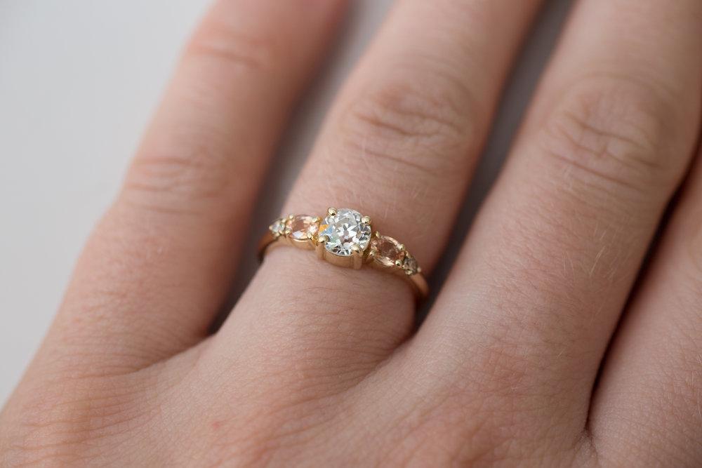 Glenn + Eliot EOC Diamond, Peach Sapphire, Champagne Diamond Cluster Ring-10.jpg