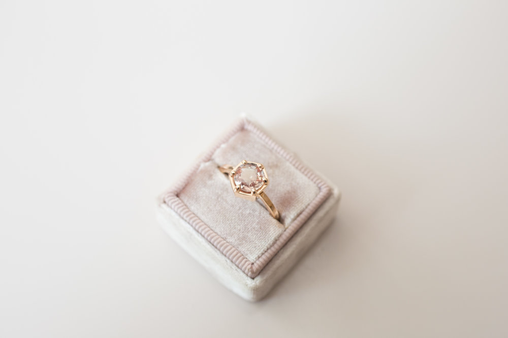 Jonathan + Liz Peach Sapphire Rose Gold Hexagon Solitaire-9.jpg