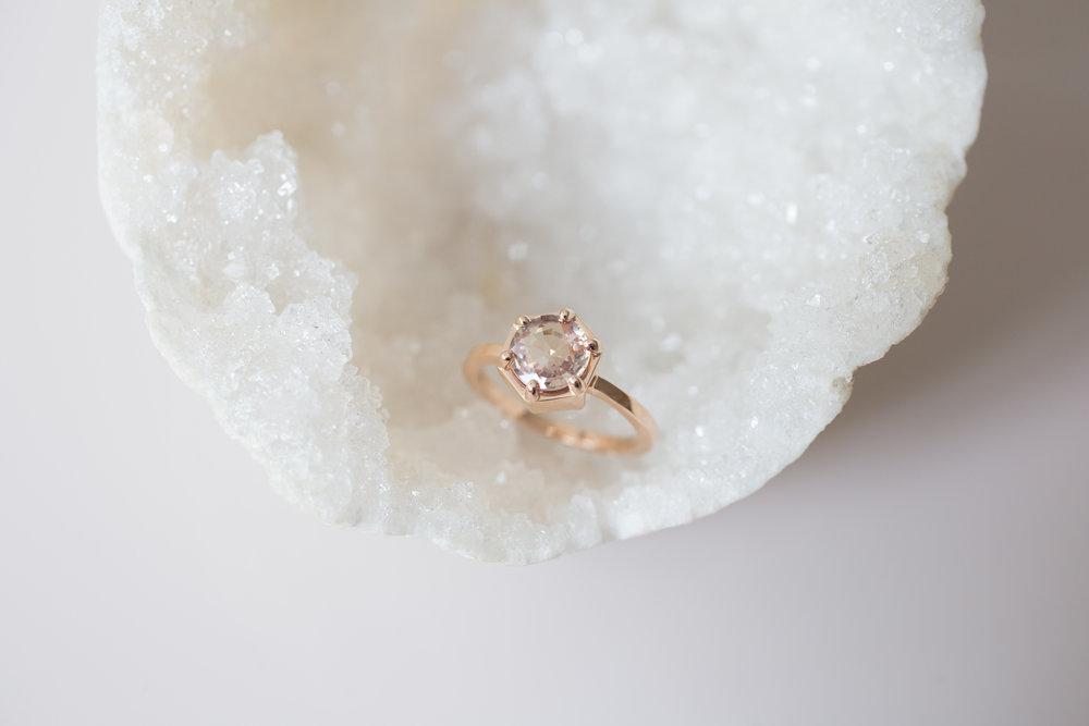 Jonathan + Liz Peach Sapphire Rose Gold Hexagon Solitaire-4.jpg