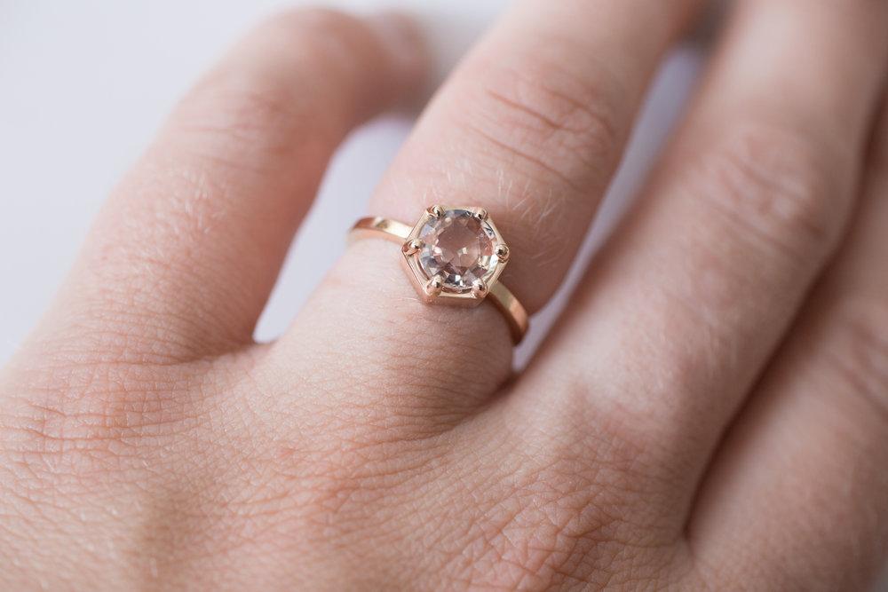 Jonathan + Liz Peach Sapphire Rose Gold Hexagon Solitaire-10.jpg
