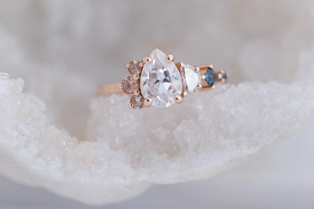 Alexis + Chris Pear Moissanite Sapphire Cluster Ring-1.jpg