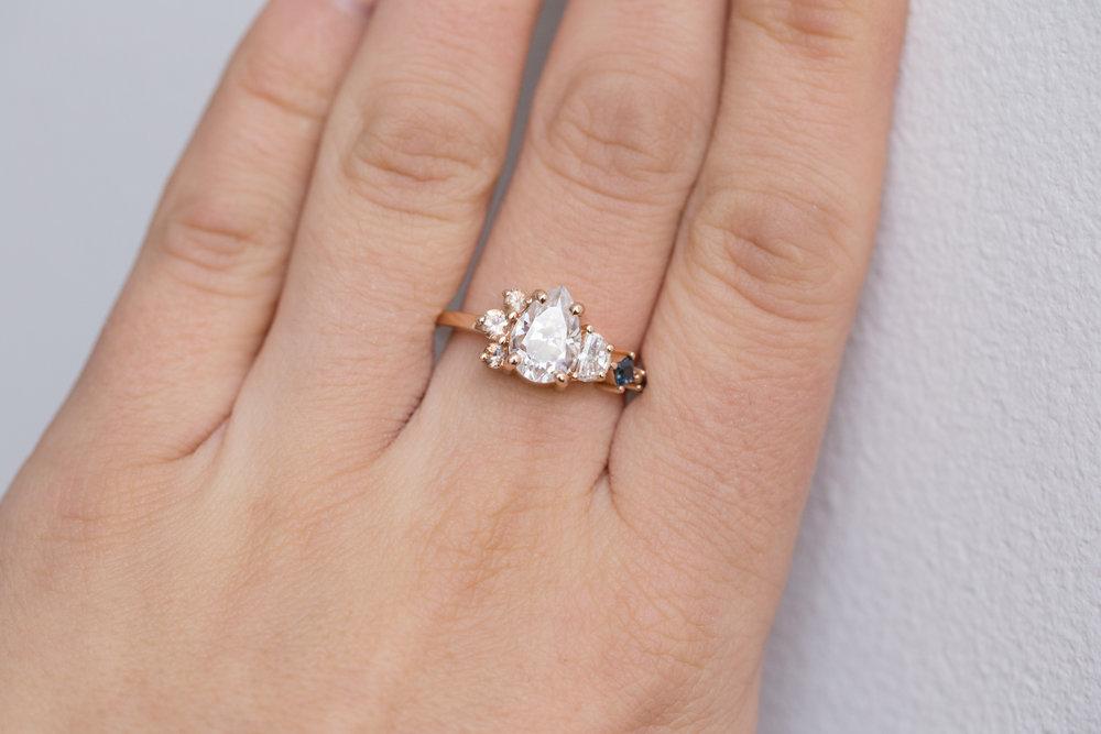 Chris + Alexis Pear Moissanite Sapphire Cluster Ring-7.jpg