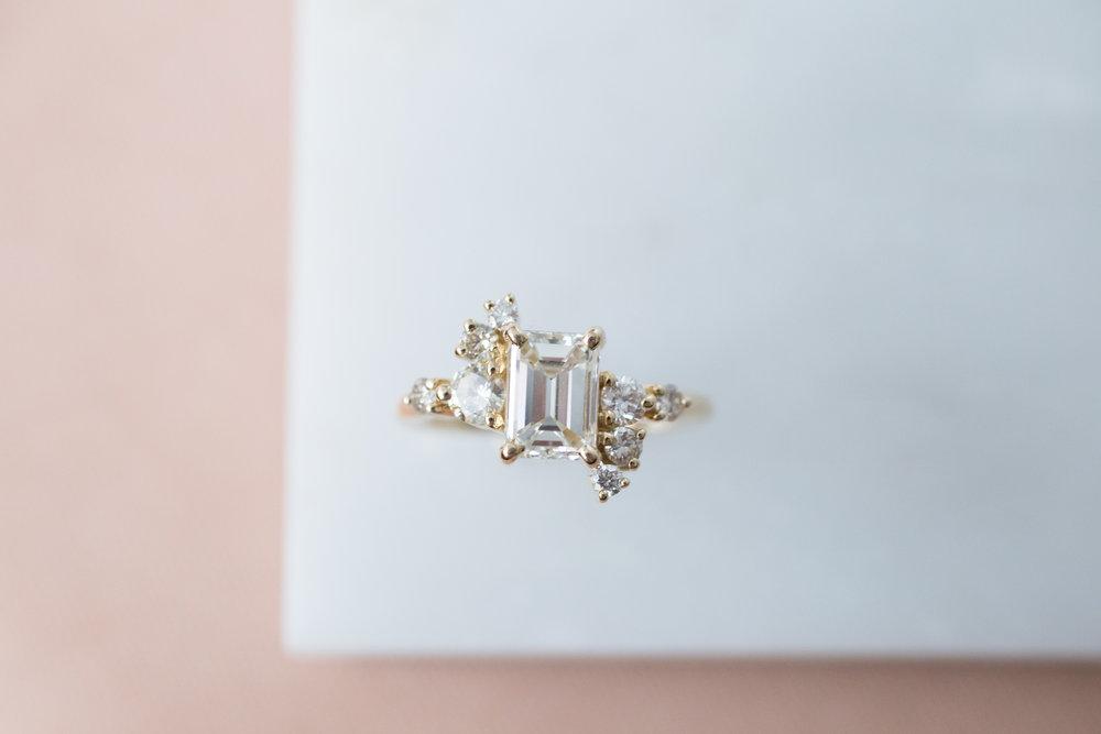 Lance + Kaylee Heirloom Emerald Cut Diamond Cluster Ring-9.jpg