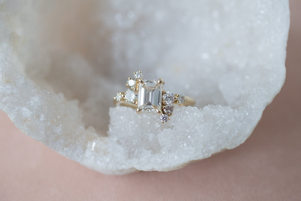 Lance + Kaylee Heirloom Emerald Cut Diamond Cluster Ring-1.jpg