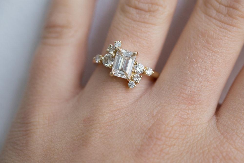 Lance + Kaylee Heirloom Emerald Cut Diamond Cluster Ring-12.jpg