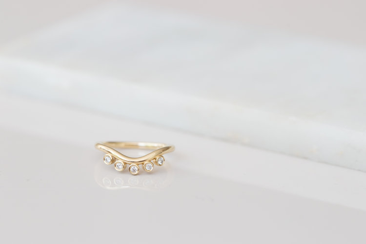 c6a43fda8 Five Diamond Arc Band | 14k Recycled Gold ...