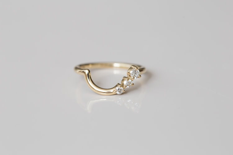 5de977abbdb14c Three Diamond Arch Band | 14k Recycled Gold ...