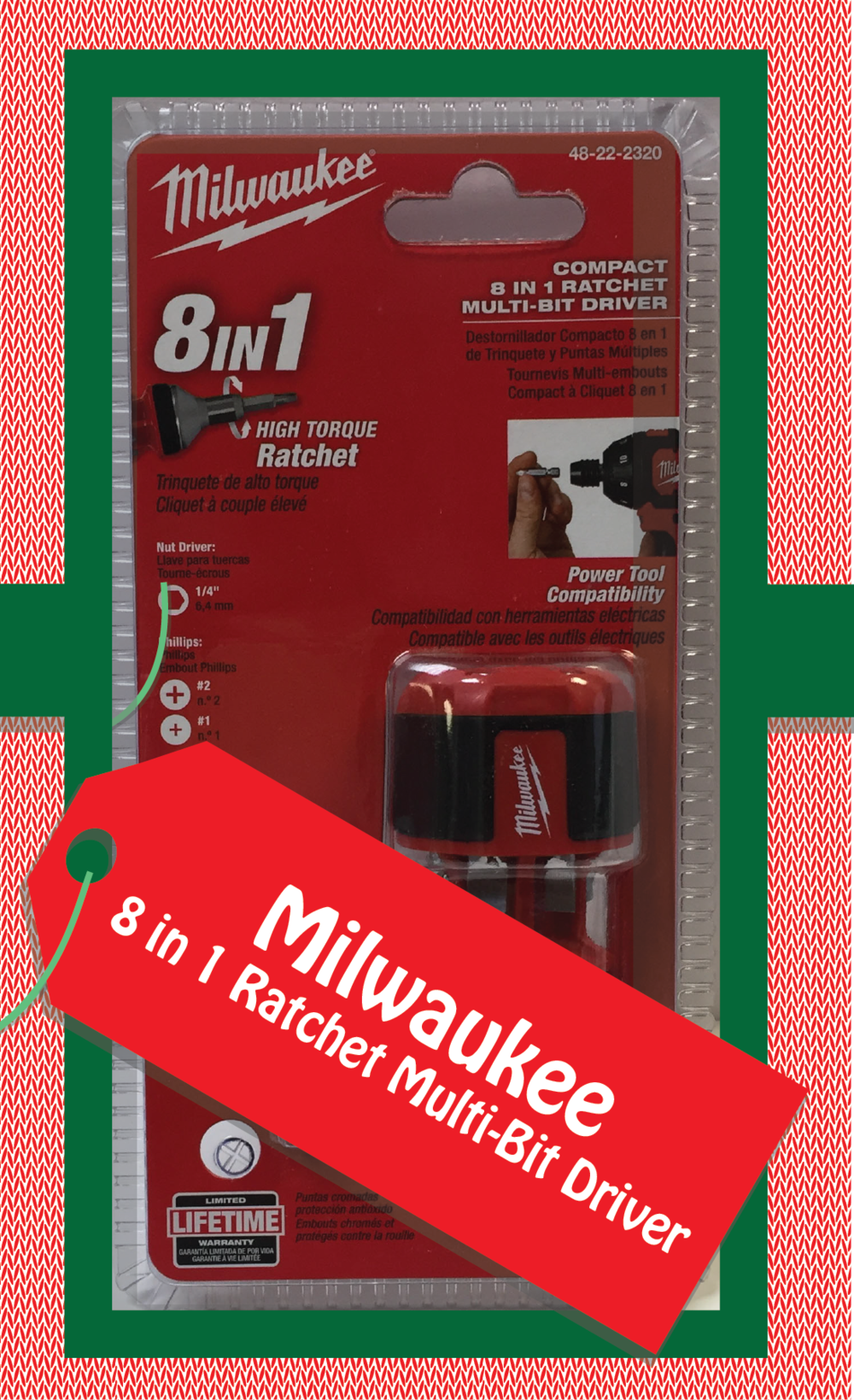 Milwaukee 8in1 Ratchet Multi-Bit Driver. Part Number: 48-22-2320
