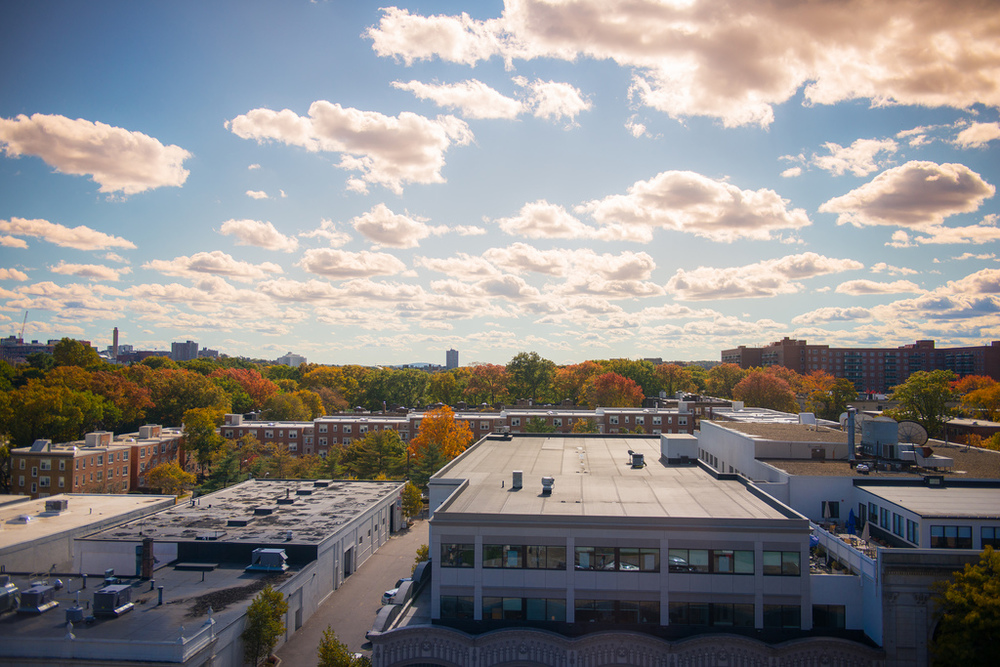 The view from the sixth floor of a building located on Boston University's west campus