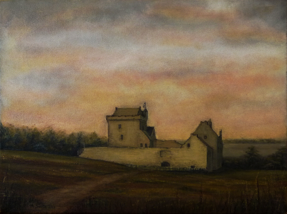 Balgonie Casle - Study, Water soluble oil on canvas.