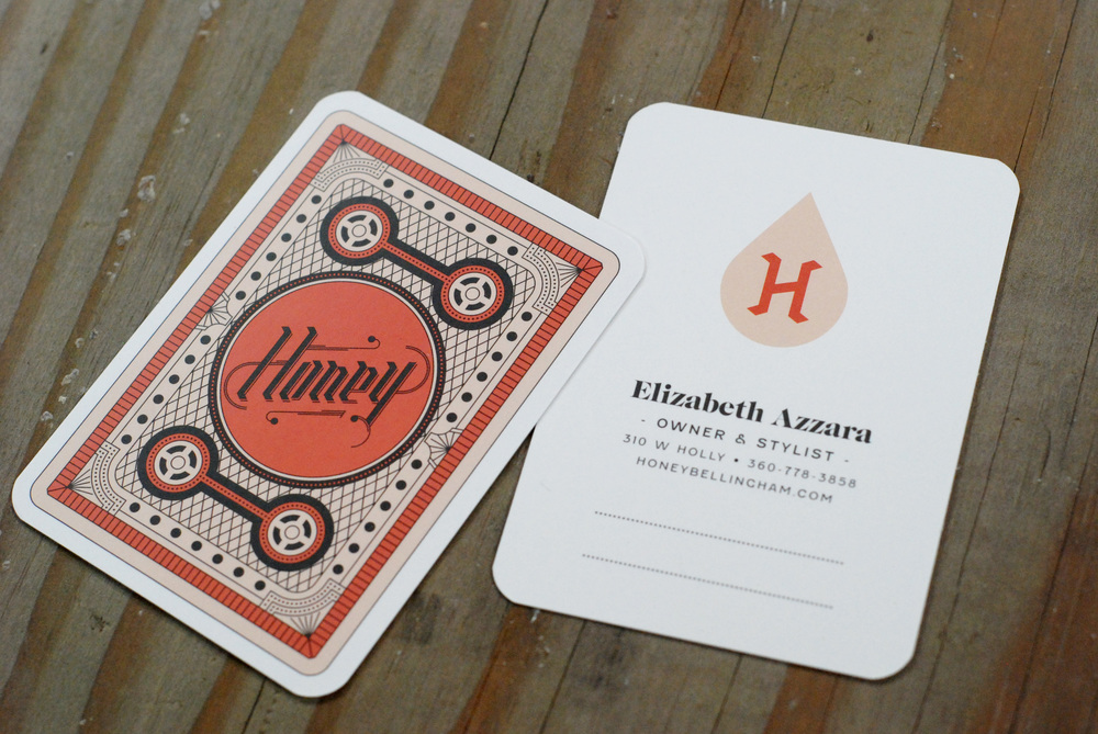 Honey Salon business cards. Cameron Jennings Design.