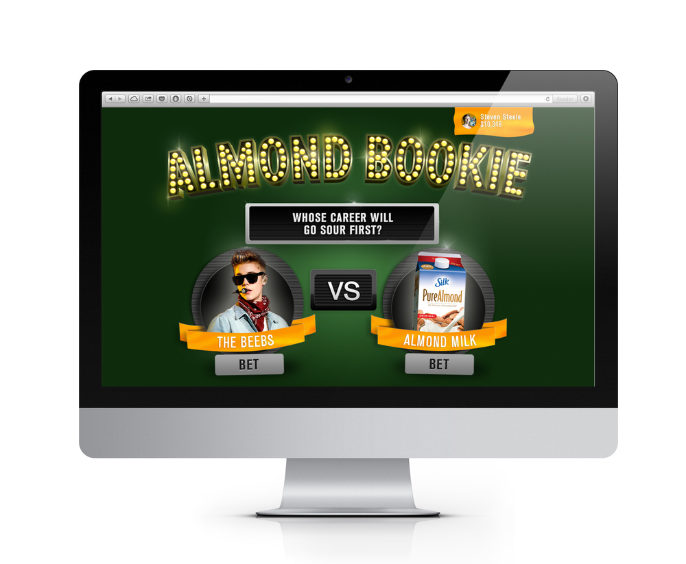 AlmondBookie.com   AlmondBookie is a website where visitors can vote on which will last longer: A piece of pop culture, or a carton of Silk Almond Milk?