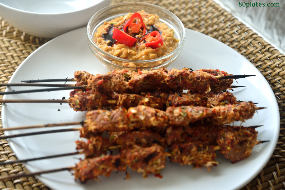 Serve the beef satay with the peanut sauce - yum!