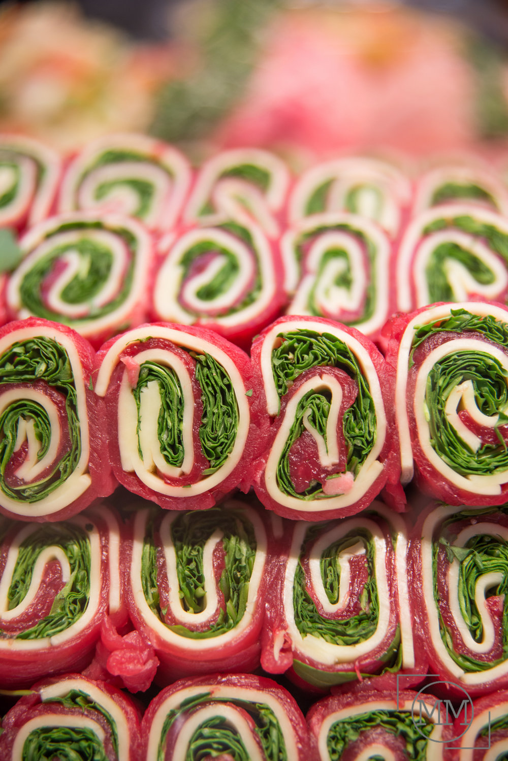 Steak, Provolone and Spinach perfectly wrapped.