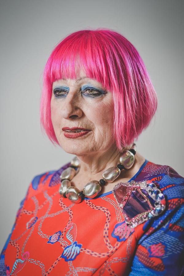 Copy of British fashion designer Dame Zandra Rhodes, London, 2015.