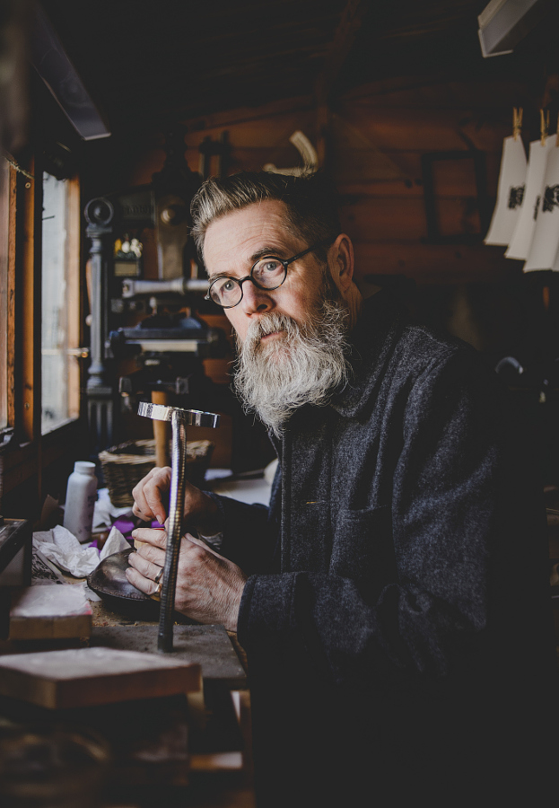 Wood engraver Jonathan Mercer in his west London studio.