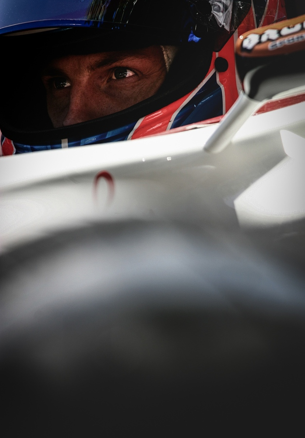 The British Formula One racing driver Jenson Button in the cockpit.